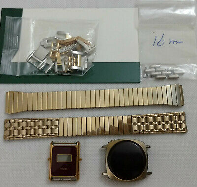 $ CDN15 • Buy Mixed Lot Of Vintage Watch Parts Two Men's Watch Bands, Links, Face & Movements