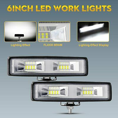 AU21.99 • Buy Pair 6inch LED Work Driving Light Bar Cree Flood Beam Lamp Reverse Offroad 4x4