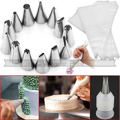 24pcs Pastry Cake Decorating Nozzles Tips Set Kit For Icing Piping Bag Tools Pen • 4.39£