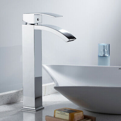 Tall Waterfall Bathroom Taps Basin Mixer Counter Top Brass Faucet Square Chrome • 25.95£