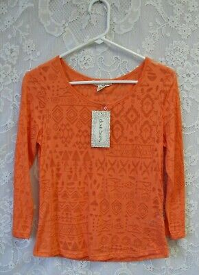 $7.99 • Buy Nwt Womens / Juniors  Size Large Coral Burnout Henley Style 3/4 Sleeve Knit Top