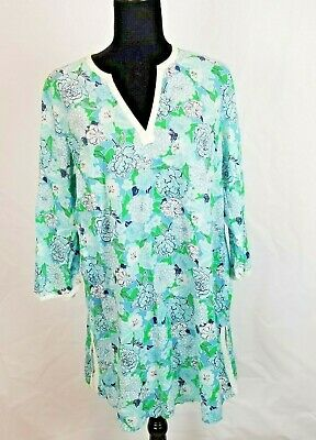 $20.40 • Buy Lilly Pulitzer Women's Green, Blue, White Floral Tunic/ Dress Size Large