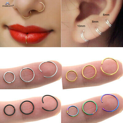 AU3.99 • Buy Nose Lip Ear Ring Hoop Rings Surgical Body Piercing Earring Stud 6 - 10 MM