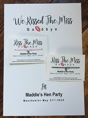 Hen Party Favour Wish Bracelet Gift 💖 Kiss The Miss Hen FREE GIFT ON ORDERS 15+ • 1.15£