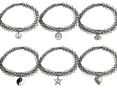 Tattoo Lace Choker Elastic Vintage Stretch Charm Necklace Henna Punk Gothic • 2.49£