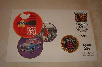 BEATLES 1st Day Cover  Spirit Of The 60s  With Gold Coin, Mint Condition • 7.99£