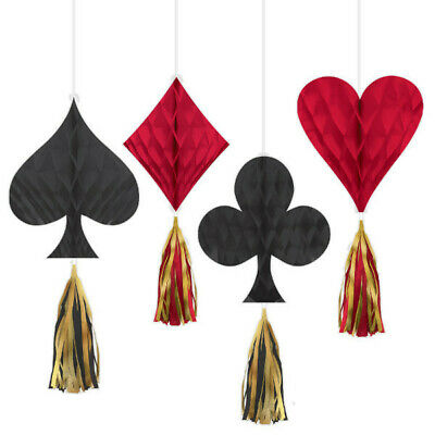 $10.95 • Buy 4 CASINO Vegas Dice SUIT Honeycombs W/ Tassels 12  Gambling Night Decorations