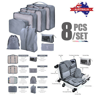 AU33.95 • Buy 7/8pcs Packing Cube Pouch Suitcase Clothes Storage Bags Travel Luggage Organiser