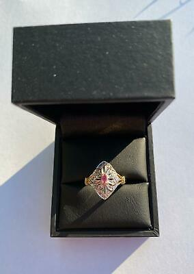 9ct Art Deco Ring With Ruby And Diamond • 149£