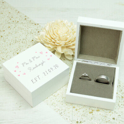 Personalised **Little Hearts** White Wooden Wedding Ring Box ANY COLOUR SCHEME • 14.95£