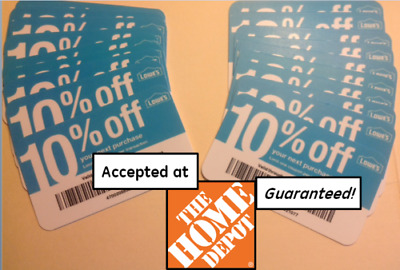 $10.49 • Buy (20x) GUARANTEED 10% Off HOME DEPOT ONLY NOVEMBER 2020 Blue Card COUPONS Lowes