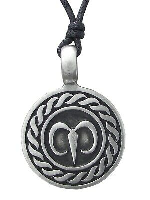 AIRIES NECKLACE Star Sign Pewter Pendant On Adjustable Black Cord Horoscope Ram • 3.95£