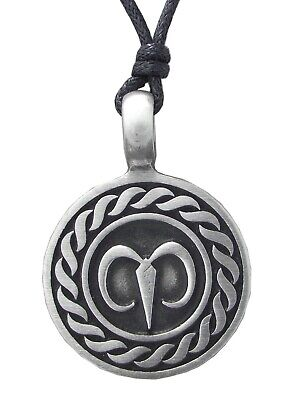 Pewter AIRIES NECKLACE Star Sign Pendant On Adjustable Black Cord Horoscope Ram • 3.95£