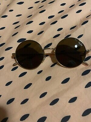 AU17 • Buy Quay Sunglasses Round, Brown Tint With Gold Arms EUC