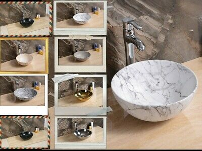Gold Silver Rose Gold Marble Basin Sink Cloakroom Bathroom Surface Mounted Style • 54.99£
