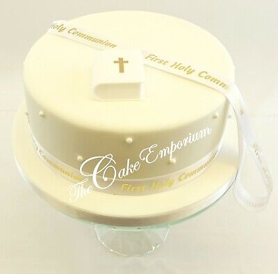 First Holy Communion Plastic Bible & 1 Metre Of Gold Ribbon  Cake Decoration  • 4.99£