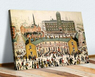 Ls Lowry VE DAY VICTORY IN EUROPE CANVAS WALL ART PRINT ARTWORK PAINTING FRAMED • 12.99£