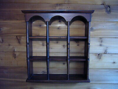 $45 • Buy VTG Wooden Collectable 9 Tea Cup & Saucer Shelf Round Spindles Turned Wall