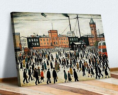 Ls Lowry Going To Work CANVAS WALL ART PRINT ARTWORK PAINTING PICTURE FRAMED • 16.99£