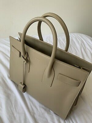 AU1600 • Buy Saint Laurent YSL SMALL Sac De Jour Bag Leather Beige