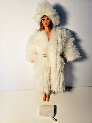 $ CDN6.51 • Buy Vintage Barbie White Fuffy Coat Hat & Hand Warmer, Not Marked (Doll Not Included