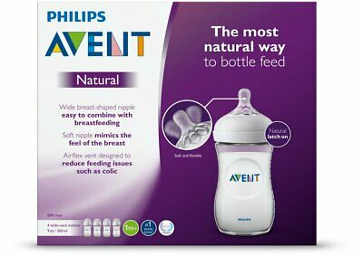 AU31.73 • Buy Philips Avent Natural Baby Bottle Clear 9 Oz 4 Pack GIFT