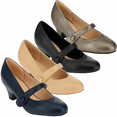 Womens Ladies Mary Jane Court Shoes Cuban Heel Office Work Comfort Wide Fit Shoe • 8.99£