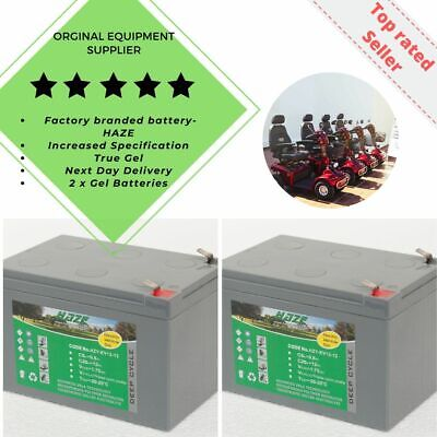 Golf Buggy & Mobility Scooter GEL Batteries. HZY-EV12-12 Pair (x2) Free P&P • 68£