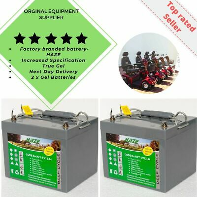 Golf Buggy & Mobility Scooter GEL Batteries Pair (x2) HZY-EV12-44 Free P&P  • 210£