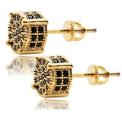 $15.95 • Buy Mens Hip Hop Round Screw Back Micro Pave 4 Prong Diamond Stud Small Earrings 6mm