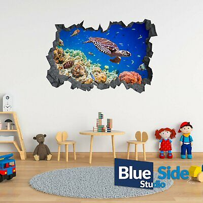 Sea Turtle Underwater 3D Hole In The Wall C Effect Wall Decal Sticker Mural • 11.99£