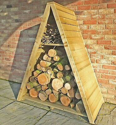 4x2 TRIANGLE LOGSTORE OVERLAP STORAGE FIREWOOD RACK LOG STORE WOODEN TIMBER WOOD • 104.94£