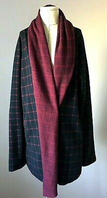 $ CDN45 • Buy Anthropologie Sanctuary  Windowpane Shawl Jacket  Sz Medium Plaid Cardigan Blue