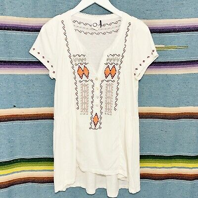 $ CDN39.76 • Buy Anthropologie Tunic Top Size Small S White Embroidered Beaded Short Sleeve Boho