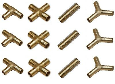 Brass T Joiner Various Piece Fuel Hose Gas Joiner Tee Connector Various Size • 3.28£