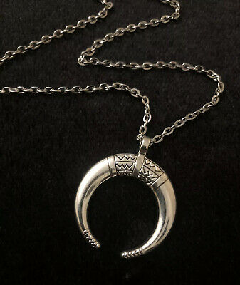"""£4.95 • Buy Large Moon Horn Necklace Long 18"""" Chain Unusual Silver Native American Indian UK"""