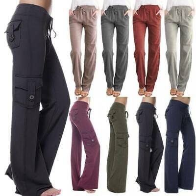 AU32.59 • Buy Womens Yoga Cargo Pants Wide Leg Palazzo Sports Casual Loose Trousers Plus Size