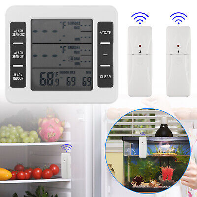 $22.57 • Buy 2 Sensors Wireless Digital Freezer Alarm Thermometer Fridge Home Indoor /Outdoor