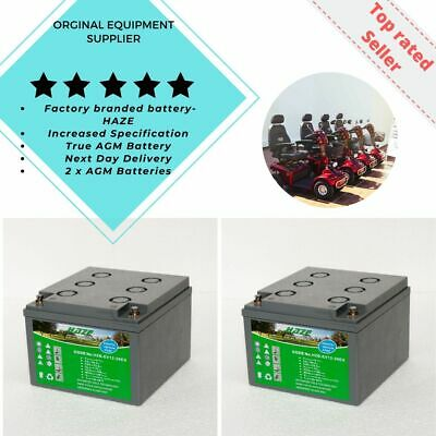 HZB-EV12-26EX Pair (x2) Golf & Mobility Scooter Batteries. INCREASED AH • 136£