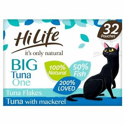 £23.20 • Buy HiLife Its Only Natural Cat Food Tuna Flakes With Makerel In Jelly 32 X 70g