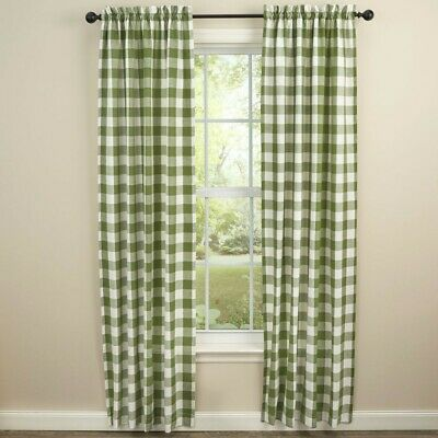 $74.95 • Buy Sage Green Cream Wicklow Panel Curtains Buffalo Check Lined Farmhouse 72WX84L