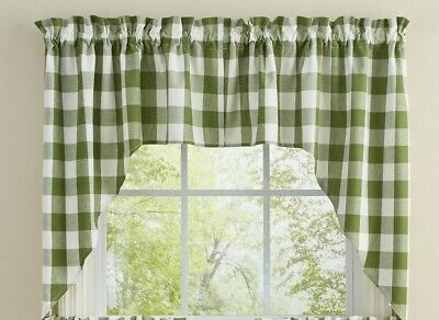 $29.95 • Buy Sage Green Cream Wicklow Swag Curtains Buffalo Check Country Farmhouse 72WX36L