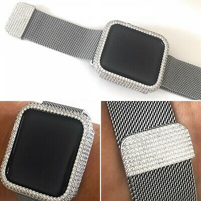 $ CDN156.24 • Buy 2 Pc Set 42 Mm S2/3 Silver Lab Diamond Apple Watch Bezel & Mesh Wristband Strap