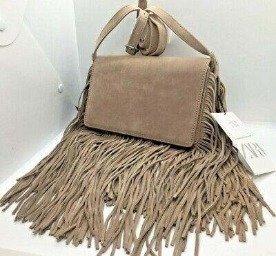 ZARA Medium RRP £49 LEATHER FRINGED SPLIT SUEDE CROSSBODY BAG New With Tags • 19.99£