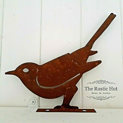 Rusted Bird Fence Shed Topper Garden Ornament • 9.50£