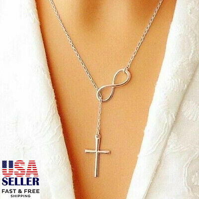 $2.99 • Buy Infinity Simple Chain Cross Pendant Necklace Clavicle Choker Women Jewelry Gift