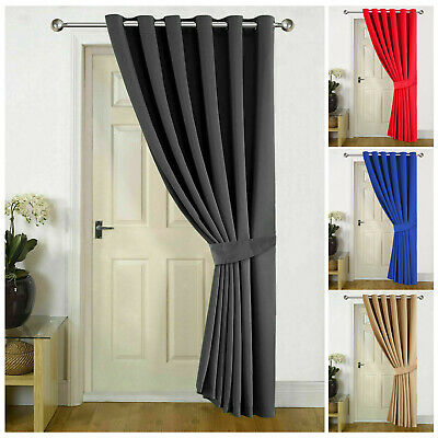 Heavy Thermal Blackout Eyelet Ring Top Ready Made Door Curtains Panel Black Grey • 18.99£