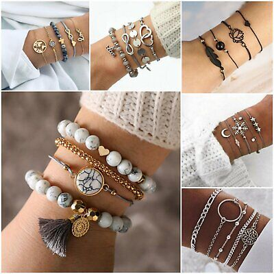 £3.59 • Buy Fashion Women Jewelry Set Rope Natural Stone Crystal Chain Alloy Bracelets Gift
