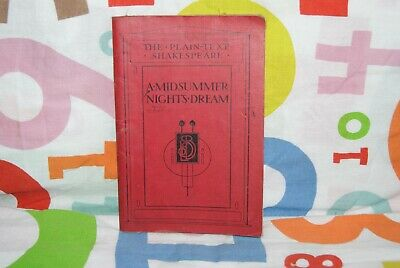 Vintage Book Early 1900's - The Plain-text Shakespeare A Midsummer Nights Dream • 7.99£