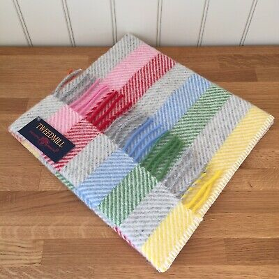 Tweedmill Textiles 100% Pure New Wool Baby Pram Blanket Rainbow Grey Stripe • 24.99£